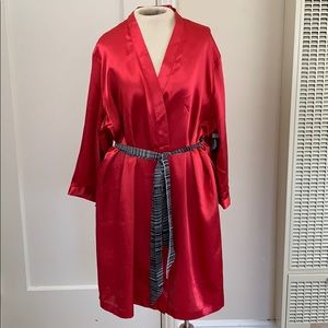 Ambrielle red satin lingerie robe